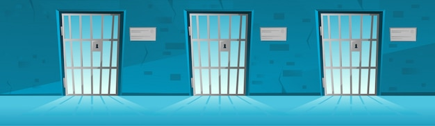 Jail corridor with grid door in cartoon style, hallway prison