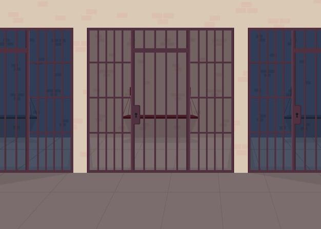 Тюрьма плоские цветные рисунки. отделение полиции. центр заключения для заключенных. наказание за правонарушение. правосудие и закон. тюрьма 2d мультяшный интерьер с решеткой на фоне