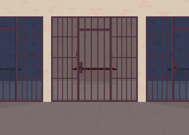 Jail flat color illustration. police department. detention center for prisoner. punishment for legal crime. justice and law. prison 2d cartoon interior with bars row on background