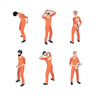 Jail guys in orange costume in different poses