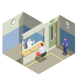 Тюрьма изометрическая композиция с бесконтактной стеклянной перегородкой для посещения по телефону и иллюстрация охранника тюрьмы