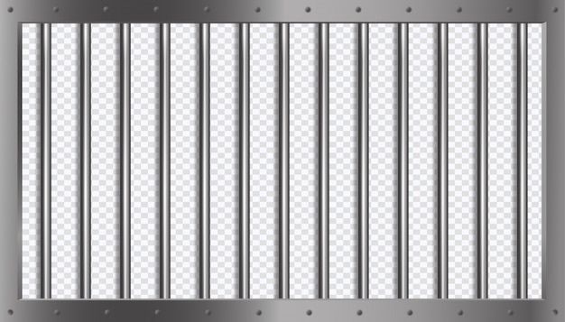Jail lattice or bars with metal frame in 3d style