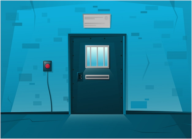 Jail locked door in cartoon style. red button on the wall.