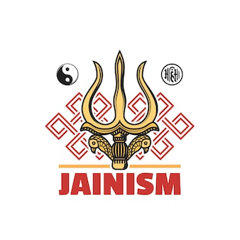Jainism religion symbol isolated vector icon with jain dharma religious signs. ahimsa, yin yang, endless knot or srivatsa and gold trident of shiva god or trishul, indian religion themes