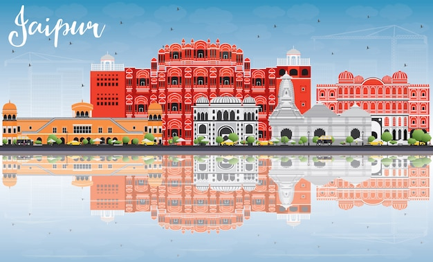 Jaipur skyline with color landmarks, blue sky and reflections.