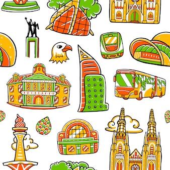 フラットなデザインスタイルのジャカルタ市シームレスパターン