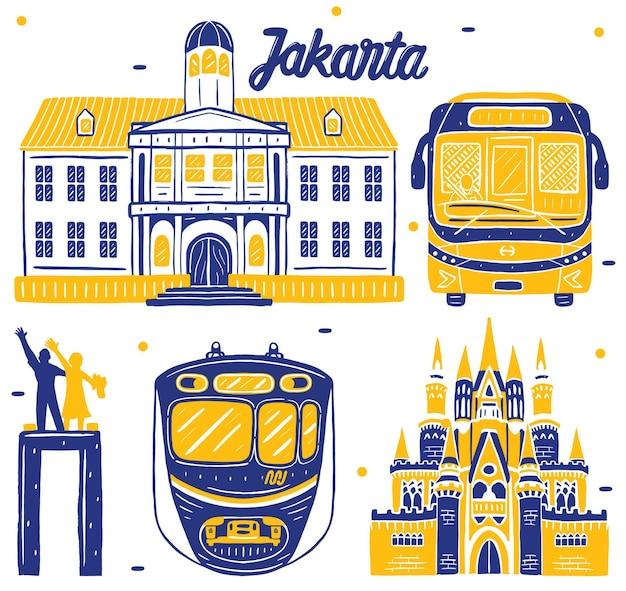 Jakarta landmark in flat design style