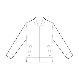 Jaket outer fashion flat technical drawing vector template