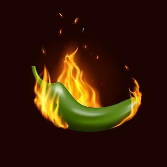 Перец чили халапеньо в огне, мексиканская кухня