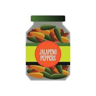 缶詰食品としてのガラスのjalapenosピクルス。ベクトルイラスト