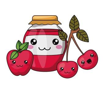 Jam bottle and fruits kawaii style