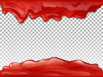 Jam flow seamless illustration of realistic 3D syrup splash and drops of red berry or fruit