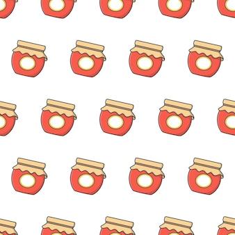 Jam glass jars seamless pattern on a white background. jar of jam icon vector illustration