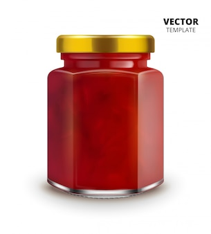 Jam jar glass mockup  isolated