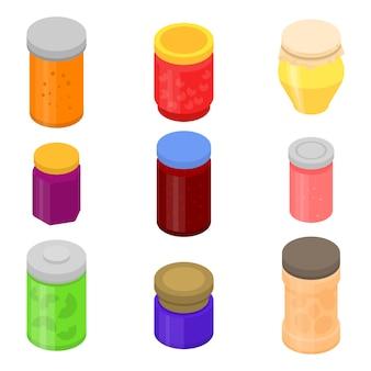 Jam jar icons set, isometric style