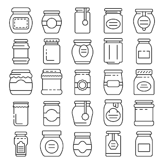 Jam jar icons set, outline style