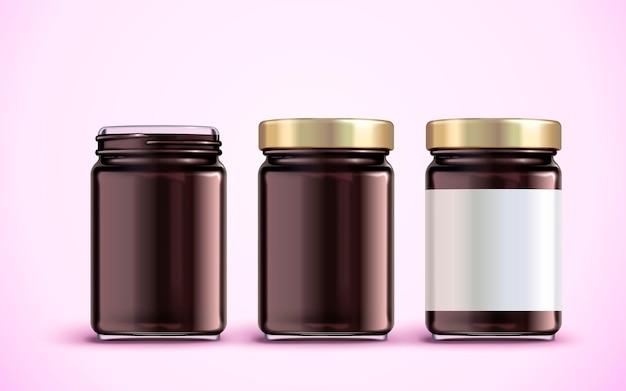 ジャム ジャーのパッケージ デザイン、空白のラベルが付いたガラス ジャーのモックアップ