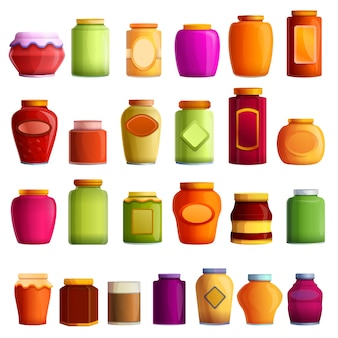 Jam jar set, cartoon style