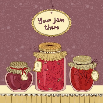 Jam jar set with tags
