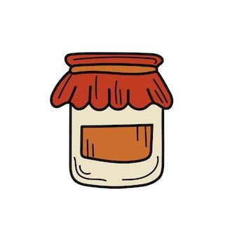 ジャム瓶-背景に分離されたベクトルスケッチアイコン。白の手描きジャム瓶アイコン
