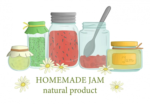 Jam jars with wild flowers and bee
