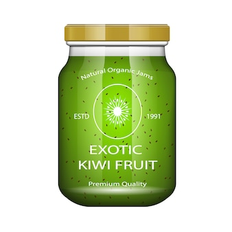 Jam kiwi. glass jar with jam and configure.  packaging collection. label for jam. bank realistic.