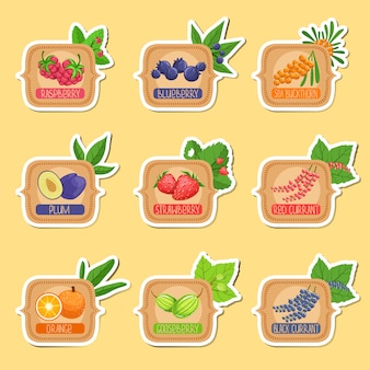 Jam label sticker collection of templates in square frames