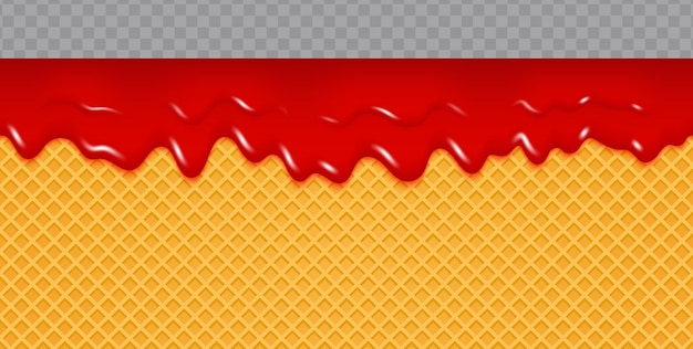 Jam melted on wafer background.