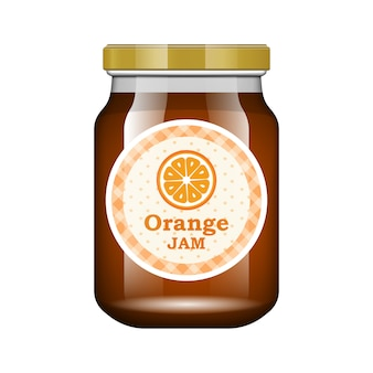 Jam orange. glass jar with jam and configure.  packaging collection. label for jam. bank realistic.