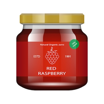 Jam raspberries glass jar with jam and configure.  packaging collection. label for jam. bank realistic.