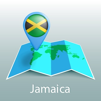 Jamaica flag world map in pin with name of country on gray background