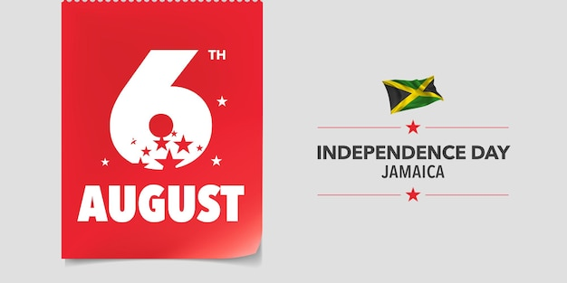 Jamaica happy independence day greeting card banner vector illustration