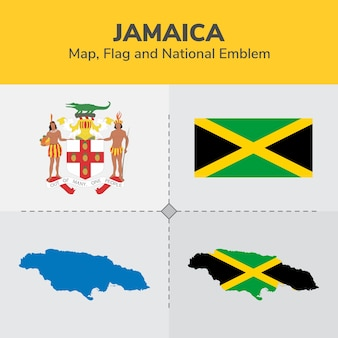 Jamaica map, flag and national emblem