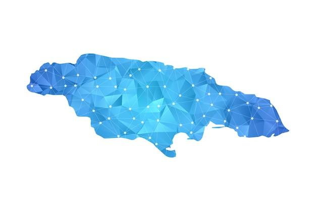 ジャマイカの地図の線の点は多角形の抽象的な幾何学的です。