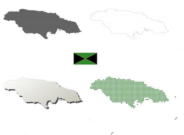 Jamaica vector outline map set