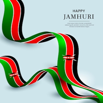 Jamhuri day event illustrated with realistic flag