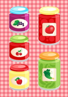 Jams and pickled vegetables in glass jars on the background checkered tablecloth