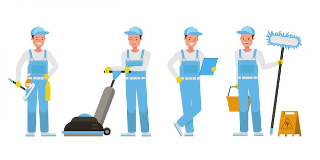Janitor character set. presentation in various action.