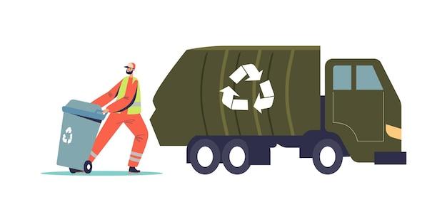 분리를 위해 쓰레기를 재활용 용기에 싣는 청소부. 환경 오염을 줄이기 위해 쓰레기를 트럭에 싣는 쓰레기 남자. 도시 재활용 서비스 개념입니다. 만화 평면 벡터 일러스트 레이 션