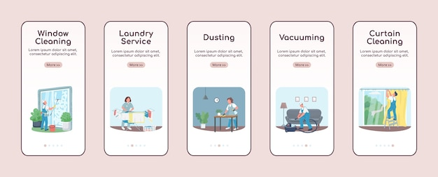 Janitorial services onboarding mobile app screen flat template. commercial cleaning. walkthrough website steps with characters. ux, ui, gui smartphone cartoon interface, case prints set