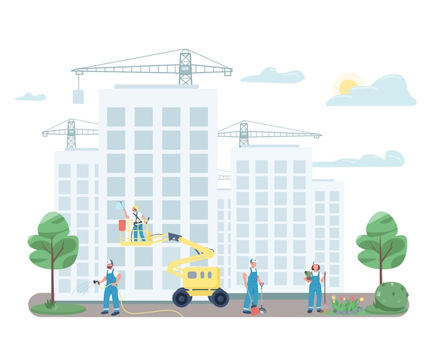 Janitorial team cleaning street flat color faceless characters. janitors on construction site isolated cartoon illustration for web graphic design and animation. commercial cleaning service