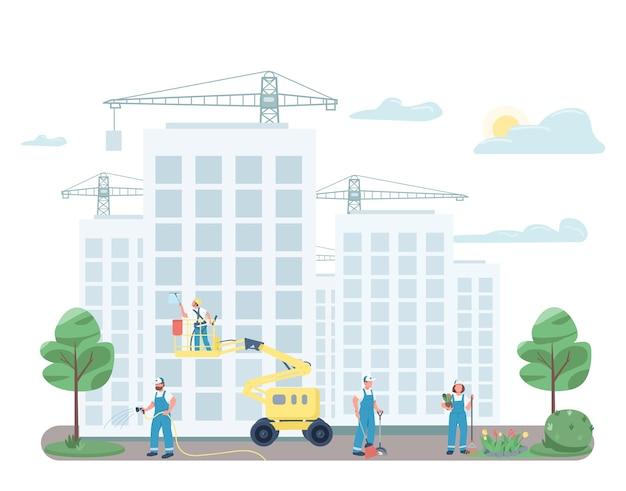 Бригада дворников убирает на улице плоские цветные безликие персонажи. дворники на строительной площадке изолировали иллюстрацию шаржа для веб-графического дизайна и анимации. услуги коммерческой уборки