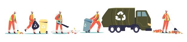 청소부와 청소부가 거리를 청소하고 쓰레기를 모아 쓰레기 트럭으로 컨테이너를 재활용합니다. 거리 청소부 서비스 노동자 팀. 만화 평면 벡터 일러스트 레이 션