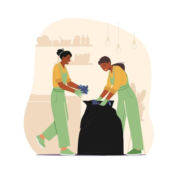 Дворники в резиновых перчатках и униформе собирают мусор в пластиковые мешки, убирая дом или отель. домашние хлопоты женского персонажа, обязанности уборщицы. мультфильм люди векторные иллюстрации