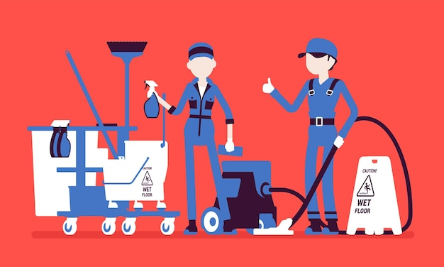 Janitors team working with professional tools. workers in uniform employed to take care of building, apartment or office, janitorial equipment for cleaning. vector illustration, faceless characters