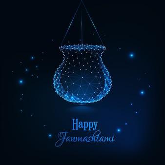 ハッピーjanmashtami、インドのお祭りdahi handiお祝いグリーティングカードテンプレート。