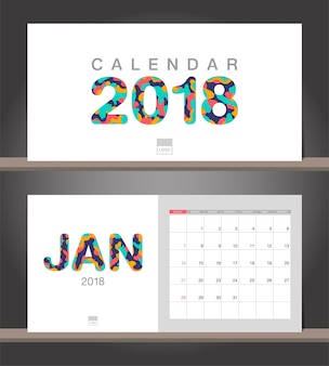January 2018 calendar. desk calendar modern design template with paper cut styles