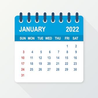 Лист календаря на январь 2022 года. календарь 2022 года в плоском стиле. векторная иллюстрация.