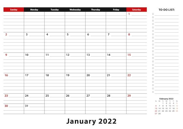 Январь 2022 г. ежемесячная неделя настольного календаря начинается с воскресенья, размер a3.