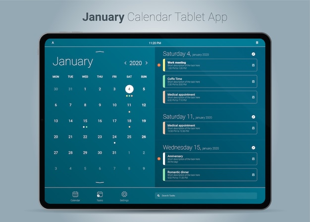 January calendar tablet app interface